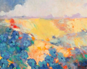 """Large Abstract Landscape Painting, Blue Wildflowers, Original on Canvas """"August Pasture"""" 30x30"""""""