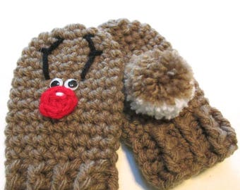 Baby Christmas reindeer thumbless mittens.  One size.  Made to order.  Reindeer mittens for baby.  Babys first christmas.  Baby stocking.