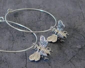 Bee Earrings, Silver Bee Hoop Earrings, Bumble Bee Hoop Earrings, Honey Bee Hoops, Sterling Silver Hoop Earrings, Bee Earrings