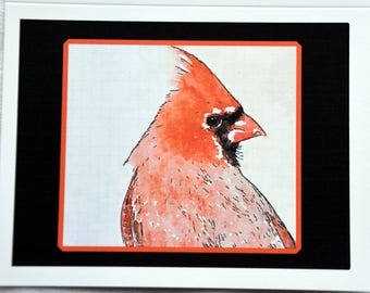 Watercolors of Cardinals Posing for You - Notecards