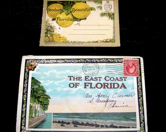 Vintage Pr. Post Card Souvenir Linen Folders East Coast Of Fl & Small  Products Of Fl