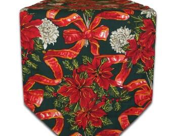 Table Runner-Christmas Table Runner-Red Poinsettia Table Linen-Red & Green Table Runner