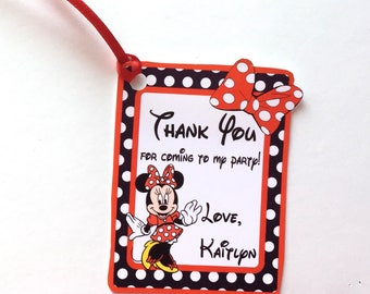Minnie Thank You Party Favor Tags, Set of 12 Minnie Mouse Bow & Dots Personalized Happy Birthday Party Favors Thank You tags Party Supplies