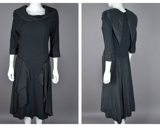 Vintage Black 1940's 40s Beverly Dale LBD Moss Crepe Coctail DRess with Statement Skirt M L