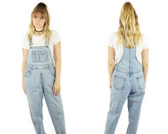 ON SALE Rare Light Wash 90s Fitted Overalls, 90s Grunge Boho, Vintage Dungarees, 90s Long Overalls Jeans, Women's Size Small Petite