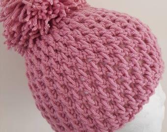 Pretty rose pompom hat 5-10y