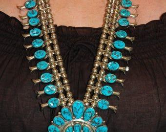 Gorgeous Vintage Navajo Henry Roanhorse Kingman Turquoise Squash Blossom Sterling Necklace 201 Grams