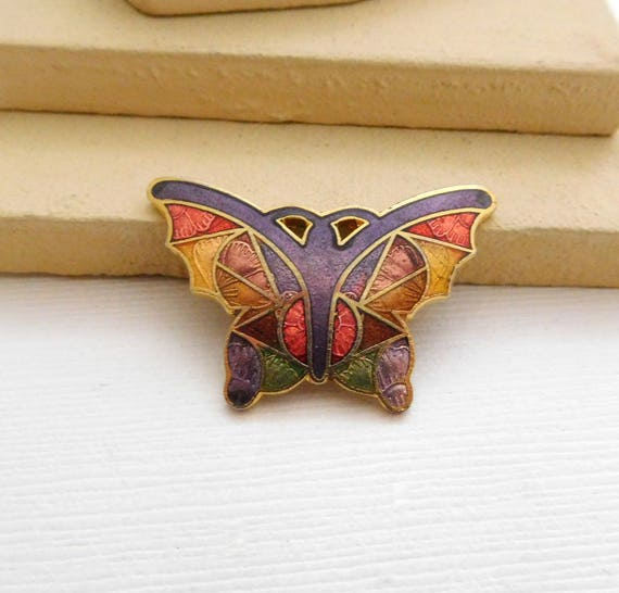 Vintage Purple Pink Gold Green Enamel Abstract New Age Butterfly Brooch Pin QQ30