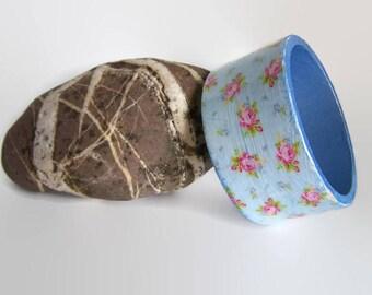 Blue Floral Wooden Bangle - Decoupage Wooden Bangle - Decoupage Jewellery - Wide Wooden Bracelet