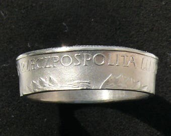 Mens Poland 10 Zlotych Coin Ring, Ring Size 11 and Double Sided
