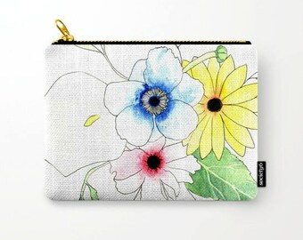 Spring Flowers, Pencil Case, Royal Blue , Leaves, Cosmetic Bag, Floral Pencil Case, Floral Print, Pouch, Zipper Pouch, Organizer,Small Bag