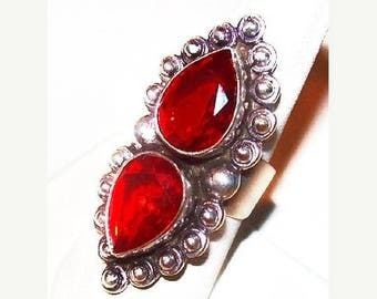 "Natural Red Garnet 6 Ct Ring 925 Sterling Double Tear Drop Ladies Sz 7 1/4"" NOS Vintage"