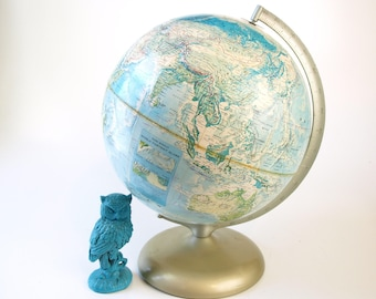 """Vintage 12"""" Rand McNally world portrait globe globe with metal stand retro relief map home decor round sphere mid century art"""