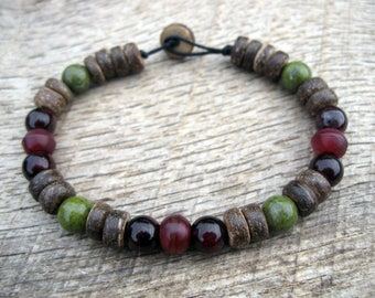 Mens bracelet, garnet, green quartz, red horn and coconut shell beads, handmade, natural materials, strong cord, surfer style, one fo a kind