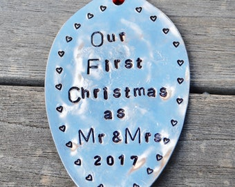 Our FIRST CHRISTMAS as Mr & Mrs 2017 // ORNAMENT // made from Recycled silver plate spoon // Red Ribbon