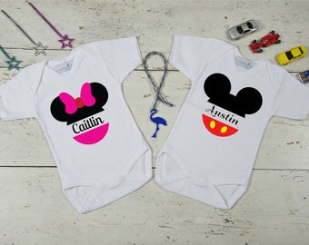 Minnie and Mickey Custom Twin Set,Custom Twin Onesies,Mini & Mickey Twin Onesie,Baby Girl and Baby Boy Twin Set,Personalized Twin Gifts