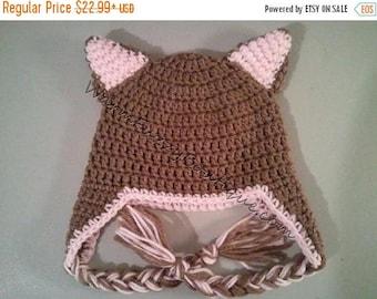 SUMMER SALE Baby Kitty Cat Earflap Hat - Crochet Newborn NB Beanie Boy Girl Costume Halloween  Photo Prop Cap Winter Outfit