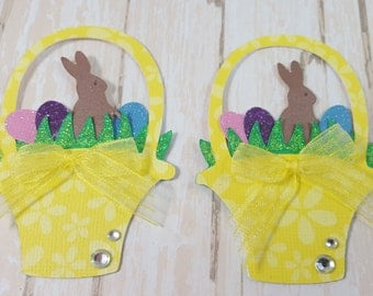 Two Easter Basket Scrapbook Embellishments, Easter Card Topper, Banner, Gift Tag