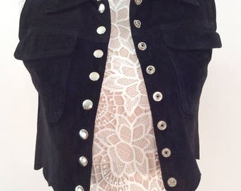 Vintage 80s 90s cropped faux suede black button up contempo casuals pockets sleeveless collared vest