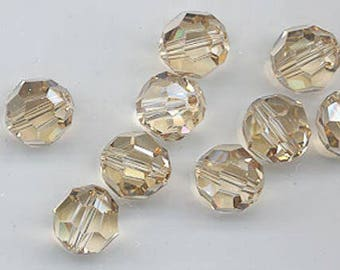 12 gorgeous Swarovski crystals - art 5000 - 10 mm - crystal golden shadow