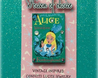 Alice in wonderland brooch with swarovski crystals