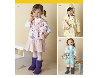 Simplicity 1288 Toddler's Fleece Dress, Jumper and 7.5 Stuffed Animals Sewing Pattern New/UnCut Size 1/2-4