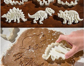 3D Dinosaur Stamp Cutters/Dinosaur Cookie Stamp/Jurassic Cutters/Embossing Cookie Mold/Fondant Tools/Theme Party