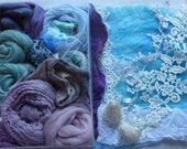 Hope jacare - Nuno felt lace experimental pack  - hand dyed fabrics, lace and other goodies -  LN09