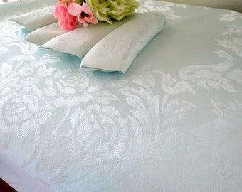 Pale Aqua Damask Tablecloth, 4 Matching Napkins, Square Cotton/Rayon Tablecloth, Vintage Table Linens, Vintage Linens