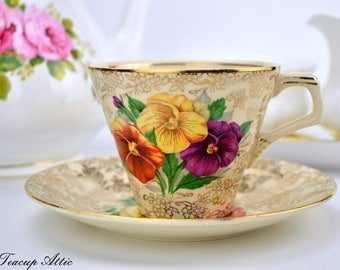 H&K Tunstall Vintage Teacup And Saucer With Pansy Flowers, English Tea Cup And Saucer, ca. 1940