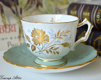 Aynsley Sage Green Embossed Teacup and Saucer Set With Gold Decoration, English Bone China Tea Cup Set, ca. 1960-1972