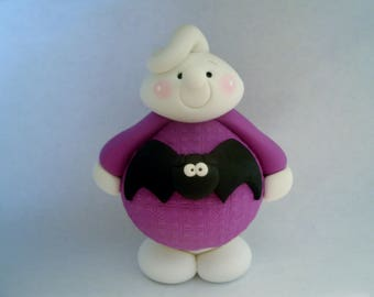 Large Ghost - Bat Sweater - Polymer Clay -  Halloween - Figurine