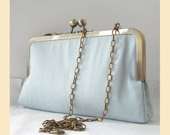 Wedding clutch bag in pale blue silk with shoulder chain in antique brass or silver, silk bridal purse, optional personalisation