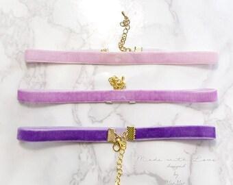 Choker Necklace Purple Lilac Velvet , skinny Great Gatsby Jewelry Handmade Elegance ,victorian