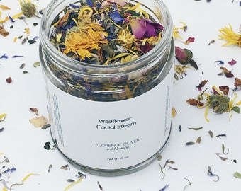 Floral Facial Steam, 9 ounce Jar, Botanical Facial Steam, Wildflower Collection, Self Care Ritual, Gift for Her, Gifts Under 40