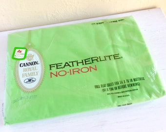 New Vintage Lime Green Featherlite Full size Sheet Flat Sheet New Old Stock Never Used