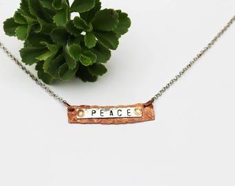 Peace Stamped Necklace, Peace Necklace, Stamped Jewelry, Mixed Media Jewelry, Beaded Jewelry, Bar Necklace, Short Necklace, Bohemian