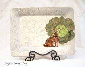 Floral Rabbit Tray