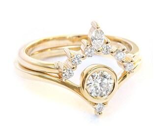 Bindi Unique Engagement Diamond Ring Set, Romi Unique Diamond Side Wedding Band
