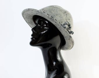Vintage Women's Grey Felted Wool Wide Brim Hat Festival Medium 56cm 22""