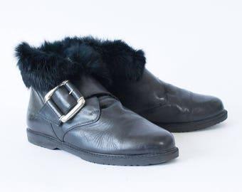 Vintage 90's Women's Black Fur Trim Leather Ankle Boots UK 6.5 EU 40 US 8.5