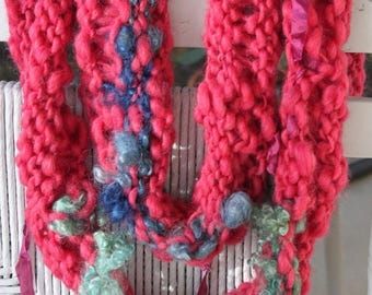 XMAS IN JULY up to 50%off Sale Hand knit Red Christmas Infinity Scarf with Raw Curls and Ribbons of Super Soft Handspun Yarn