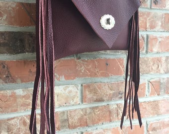 Leather Fringe Handbag Burgandy