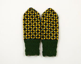 Hand Knitted Mittens, Latvian Mittens, Wool Mittens - Green, Black and Yellow, Size Extra Small