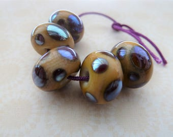 Handmade lampwork glass beads, ivory and silver pink spots, UK set