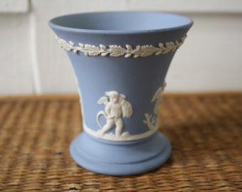 Blue Wedgwood Vase, Jasperware vase, Wedgwood, English blue vase, blue and white vase