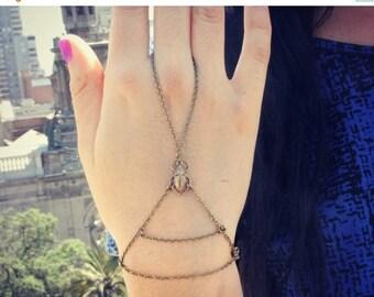 VACATION SALE little scarab slave bracelet, scarab hand chain, bracelet ring, slave ring, hand harness, Egyptian jewelry