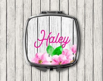 Pink Floral Compact Mirror with Wood Background