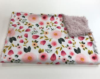 Pink Happy Floral Baby Girl Minky Blanket