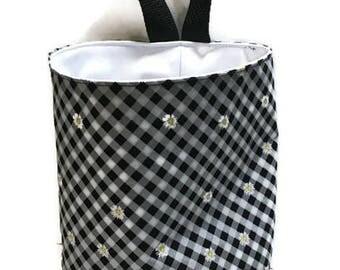 Waterproof Car Trash Bag Black Gingham Check Daisies, Storage Bag, Camper Litter Bag, Hanging Trash Bag, Auto Litter Bag, Portable Bag